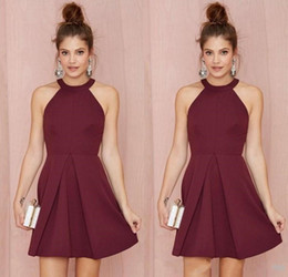 Formal above knee dresses online shopping - 2019 Halter Backless Burgundy A Line Above Knee Length Prom Homecoming Gowns Custom Made Women Formal Wear Sexy Short Cocktail Party Dresses