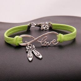 $enCountryForm.capitalKeyWord Australia - Brand Boho Multilayer Infinity Love Dance Shoes Charm Bracelets for Women Men Vintage Green Leather Bracelet Bangles Pulseras Ethnic Jewelry