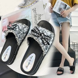 Silver Ladies Canvas Shoes Australia - Kjstyrka new designer shoes women Slippers fashion sequins butterfly-knot Sponge soles black silver ladies Slides zapatillas M