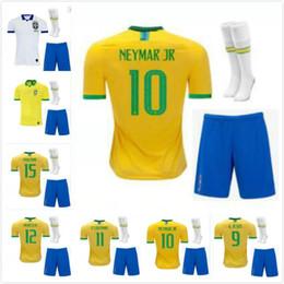 e7189570a2b Adult KIT socks 19 20 new Brazil soccer jersey home Marcelo PELE OSCAR  D.COSTA DAVID LUIZ top quality football soccer shirt national team