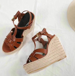 comfortable wedding sandals 2019 - Hot Sale-2018 new slopes, rattan, hemp, sandals, leather, leather, fabric, the most comfortable sandals, 3 colors 35-40