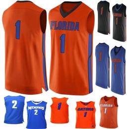 رقم 1 فلوريدا غتورس 2 ممفيس نمور الرجال كلية كرة السلة جيرسي التطريز ملابس رياضية رجل الرياضة الفانيلة الحجم s-3xl