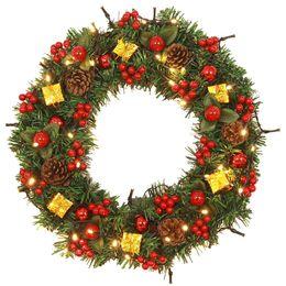 Bow Mounts UK - Christmas Wreath with Bow Handcrafted New Year Elegant Holiday Wreath Decoration Door Wall Ornament Garland guirnalda navidad