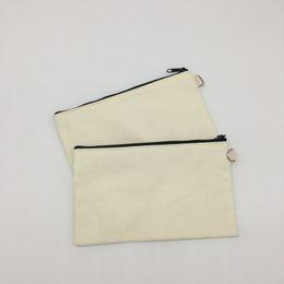 $enCountryForm.capitalKeyWord Australia - 19.5*11cm Black cotton canvas cosmetic bags DIY women blank plain zipper makeup bag phone clutch bag Gift organizer cases 100pcs ST292