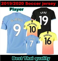 man city soccer jerseys NZ - Player version! MAHREZ 19 20 soccer jersey 2019 city JESUS DE BRUYNE KUN AGUERO football shirt Camiseta MENDY WALKER SILVA MAN uniforms manc