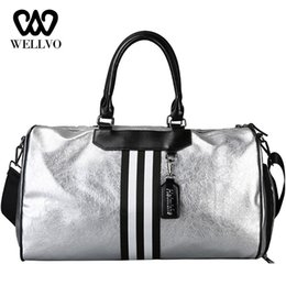 Luggage Hand Bags Australia - 2019 Unisex Travel Bag Hand Luggage Leather Handbag Women Large Shoulder Bags Couple Stripe Crossbody Tote Trip Package XA721WB