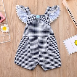 Wholesale Spandex Jumpsuits Australia - New Stylish Summer Toddler Baby Girls Rompers INS Birds Printing Fly Lace Front Bow Belt Stripes Jumpsuit Kids Bodysuit Baby Romper 1-5T