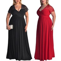 $enCountryForm.capitalKeyWord Australia - Summer Women's Plus Size Short Sleeves High Waist Solid V-Neck Evening Gown Long Lace Summer Dress