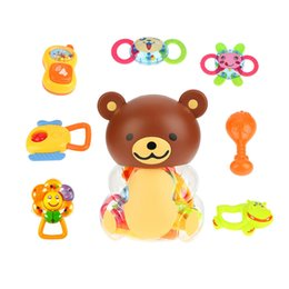$enCountryForm.capitalKeyWord Australia - 8 Pieces different colorful cute Baby Rattle and Teether Infant Teething Toys toys Play Set in a lovely bear bottle
