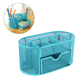 Metal Drawers Australia - Blue Mesh Desk Organizer Desktop Pencil Holder Accessories Office Supplies Caddy With Drawer, 9 Compartments