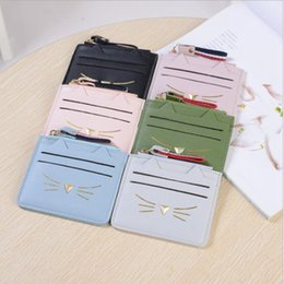 Discount cartoon girl names - Cat cartoon zipper new women girls short card bag cute animal kids coin name credit card holders mini card bags