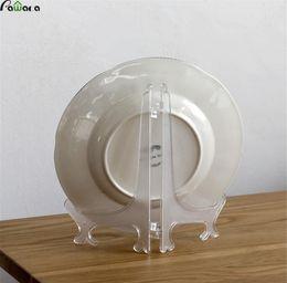 $enCountryForm.capitalKeyWord Australia - 12Pcs Set Clear Plastic Display Stand Dish Rack Plate Bowl Picture Frame Photo Book Pedestal Holder 2 Sizes Home