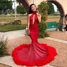 23e6436da7f1 2019 Sexy Mermaid Red Feather Prom Dresses with Train Sparkly Sequins  Appliques Cut-out High Neck African Evening Party Gowns Vestidos