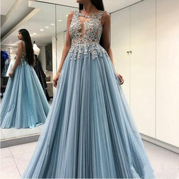 pictures pleated jackets Canada - Sexy Illusion Long Prom Dresses 2020 Jewel Open Back Appliques Beaded A Line Floor Length Pleats Tulle Formal Modern Evening Dresses