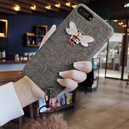 Fox Fur Iphone Case Australia - Mytoto Fashion 3D diamond bee cloth winter plush fox fur ball embroidery wrist soft phone case for iphone 6 S 7 8 plus X XS XR max