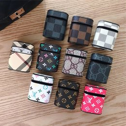 Storage charger online shopping - Monogram Earphone Case For Airpods Case Leather Protective Cover Hook Clasp Keychain for Airpods Bluetooth Earphone Anti drop Storage Bag