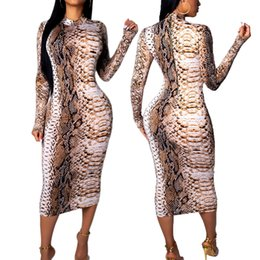 sexy snakeskin dresses Australia - 20SS New Arrival Women's Dress Designer for Summer Luxury Snakeskin Print Long Sleeve Dress V-neck Bodycon Dress Sexy & Club Style Hot Sale