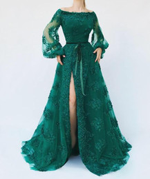 $enCountryForm.capitalKeyWord UK - Hunter Green Lace Beaded 2019 African Evening Dresses Long Sleeves High Split Prom Dresses Sexy Vintage Formal Party Bridesmaid Gowns