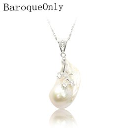 snake pearl pendant NZ - 925 Sterling Silver Baroque Style Flower Pearl Pendant Necklace 20-36mm White Pearl Jewelry For Women Classical 2019new Arrvial J 190429