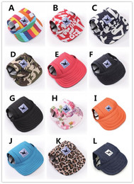 sport pet designs NZ - Pets Dog Caps Canvas Hat Sports Baseball Cap with Ear Holes Summer Outdoor Hiking Visor Hats Puppy Pet supplies 12 designs