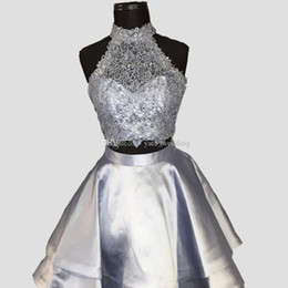 $enCountryForm.capitalKeyWord UK - Silver Gray Two Piece Homecoming Dresses High Neck Sleeveless Lace Satin Backless Royal Blue Light Sky Blue Red Short Party Dresses