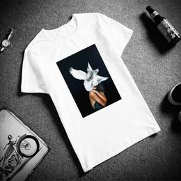 Blue feather Bird online shopping - Skipoem Funny Tshirt Birds Feather Cotton O Neck T Shirt Plus Size Short Sleeve Brand Female T Shirt Femme