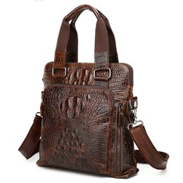 Vertical briefcase bag online shopping - Mens Cowhide Real Leather Crocodile Pattern Vertical Briefcase Shoulder Crossbody Bags Alligator Laptop Ipad Briefcases Coffee