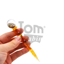 Discount lollipop pipe - Lollipop Style Glass Dabber Tool Pen Dabber Tools Oil Wax Dab Tool with Quartz Banger Carb Cap For Pyrex Burner Glass Sm
