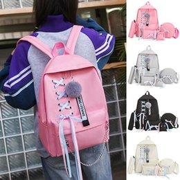 $enCountryForm.capitalKeyWord Australia - Papasgix School Bags For Teenage Girls College Wind Schoolbag Teenage Solid Backpack Black Lace Bow Bundle Backpack