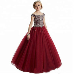 China Luxury Beads Sequins Girls Pageant Dresses Crystal Ball Gown Kids Formal Wear Flower Girls Dresses For Wedding cheap girls sequin tulle dresses suppliers