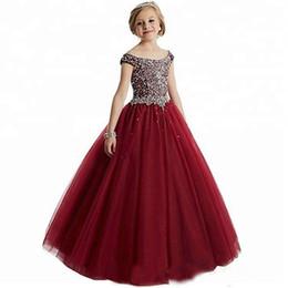 Vente en gros Perles De Luxe Paillettes Filles Pageant Robes Robe De Bal En Cristal Enfants Tenue Habillée Fleur Robes De Filles Pour Mariage