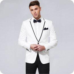$enCountryForm.capitalKeyWord Australia - White Groom Tuxedos Black Notch Lapel Slim Men Suits for Wedding Suits Man Blazers Costume Homme 2Piece(Coat Pants) Classic Terno Masculino