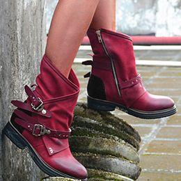 zipper buckle boots 2019 - Belt Buckle Boots Women Pleated 2019 Winter Warm Square Heel Short Boots Retro Wine Red Casual Zipper Hot Botas Mujer#G7