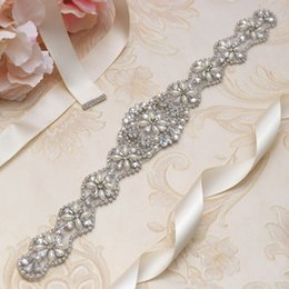 MissRDress Bridal Belt Sashes Silver Crystal Ribbons Pearls Rhinestone Wedding Sashes Belt For Bridal And Bridesmaids Dress YS806