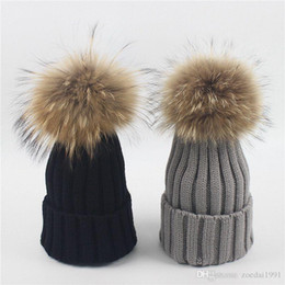$enCountryForm.capitalKeyWord Australia - Baby Real 15cm Raccoon Fur pompom Hats For Baby Boys And Girls Children's Winter knitted wool Hat With Real Fur Ball On Top Winter Caps
