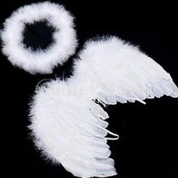 Wholesale 1 set Lovely Baby Kids White Feather Angel Wings with Headband for Baby Shower Photo Props Birthday Party Decorations supplies