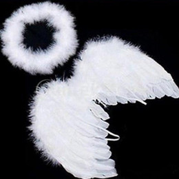 Feather For Birthday Party Decoration Australia - 1 set Lovely Baby Kids White Feather Angel Wings with Headband for Baby Shower Photo Props Birthday Party Decorations supplies