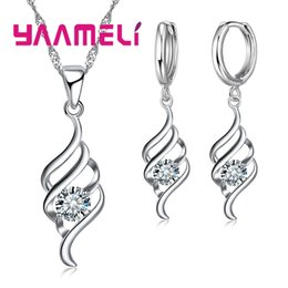 Classic Charm Fashion Australia - YAAMELI Jewelry Sets For Women Charms Pendant Necklace Hoop Earring Fashion Classic Collares 925 Sterling Silver Wedding Gift