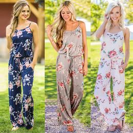 1b8673dea0 Plus Size Women Floral Print Sling Jumpsuit Sleeveless Romper Beach  Bodysuit Summer Boho Wide Leg Pants Loose Trousers S-3XL Overalls C42301