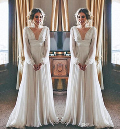 ce876b275e1 Modest Hippie Boho Beach Wedding Dresses 2019 Long Sleeves High Waist Plus  Size Chiffon Cheap Maternity Country Greek Style Bridal Gowns