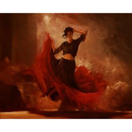 $enCountryForm.capitalKeyWord Australia - Art Gift beautiful Lady oil paintings dancer under spotlight hand-painted picture for bedroom decor