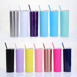 stainless tumblers NZ - 20oz Staight Cup 13 Colors Stainless Steel Skinny Tumbler Beer Coffee Mug with Drinking Straws Lid LJJO7223-3