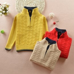 8944c881c 2018 Autumn Winter Fashion Tops Turtleneck For Boy Cotton Knit Big Boys  Pullover Color Matching Kids Sweater Yellow Red Beige