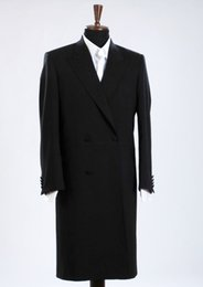 dark blue gentlemen suits 2019 - Custom long black classic gentleman double-breasted men's suit jacket Slim fit dress fashion classic windbreaker on