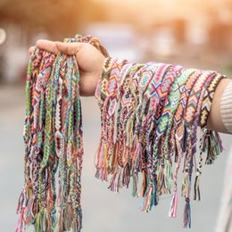 wholesale hair weaving thread NZ - 86 Colors Friendship Handmade Cords Multi Color Woven Braid Strand Braided Thread for Hair Ponytail Bracelet Anklet with Clear Rubber Bands