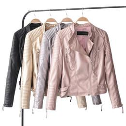 $enCountryForm.capitalKeyWord Australia - Faux Soft Leather Jackets HOT Autumn New Fashion Women Slim black Pu Zippers jacket Winter Motorcycle Coat golden Outerwear