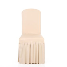 Wholesale Chair Slipcovers Australia - Pleated Solid Color Ruffled Stretchable Removable Washable Home Dining Chair Cover Spandex Seats Slipcover for Wedding Party Hotel Dining Ro