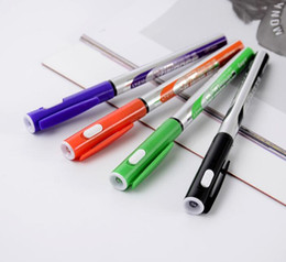 Flashlight Pens Wholesale Australia - 2019 Hot selling New strange 4 Color Flashlight Ballpoint Ball pen blue 0.5mm School Supplies blue Bullet Ball pen School Office Supply