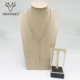 $enCountryForm.capitalKeyWord UK - Viennois New Gold Color Zircon Jewelry Set For Women Geomertic Drop Earrings Necklace Set Party Jewelry 2018