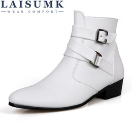 men leather short zipper boot 2020 - LAISUMK British Style Spring And Autumn Casual Men Pointed High-Country Boots Plus Size Casual Short Men Zipper Leather